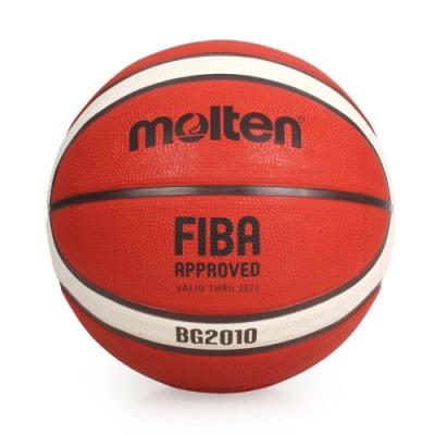 MOLTEN #7橡膠深溝 12片貼籃球-7號球 附球針 球網袋 B7G2010 橘米白