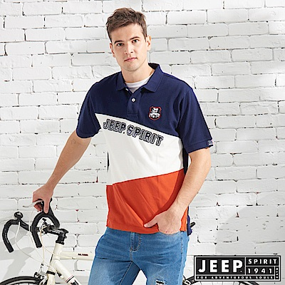 JEEP 拼接造型純棉短袖POLO衫-深藍色