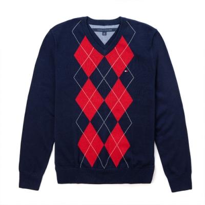 TOMMY 年度經典V領刺繡小LOGO毛衣-深藍底紅格紋色