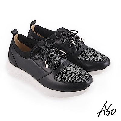 A.S.O 3D超動能 襪套式牛皮網布休閒鞋 黑