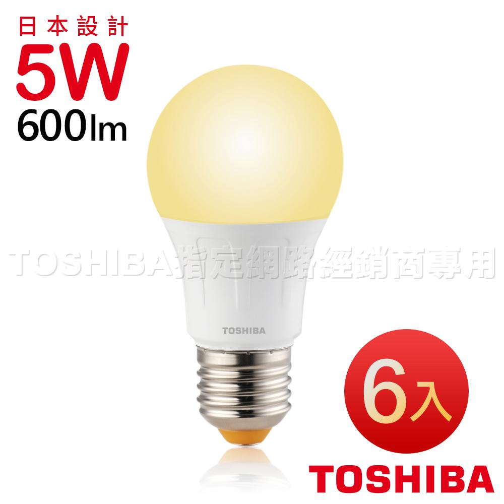 TOSHIBA東芝 第二代 高效球LED泡燈 5W-黃光6入