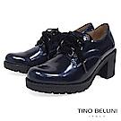 Tino Bellini 西班牙進口珠光元素綁帶粗跟鞋 _ 炫光藍