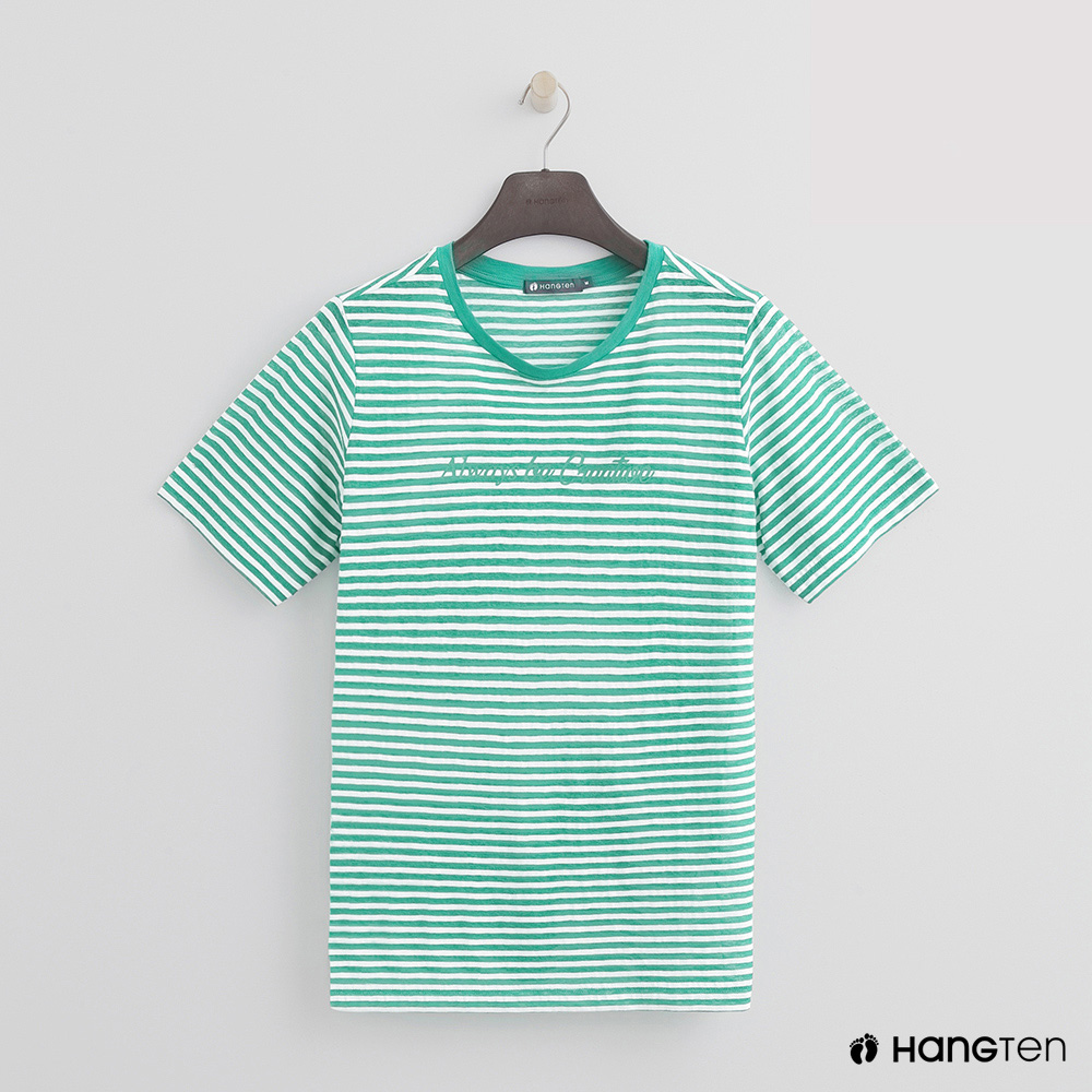 Hang Ten - 女裝 - 糖果配色橫條紋短T - 綠