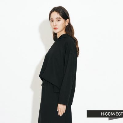 H:CONNECT 韓國品牌 女裝-素面連帽上衣-黑