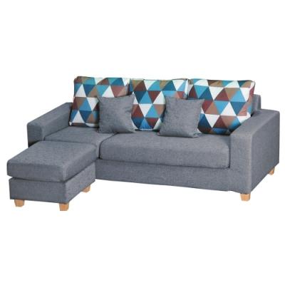 綠活居 費尼時尚灰亞麻布L型沙發組合(三人座+椅凳)-214x146x81cm免組