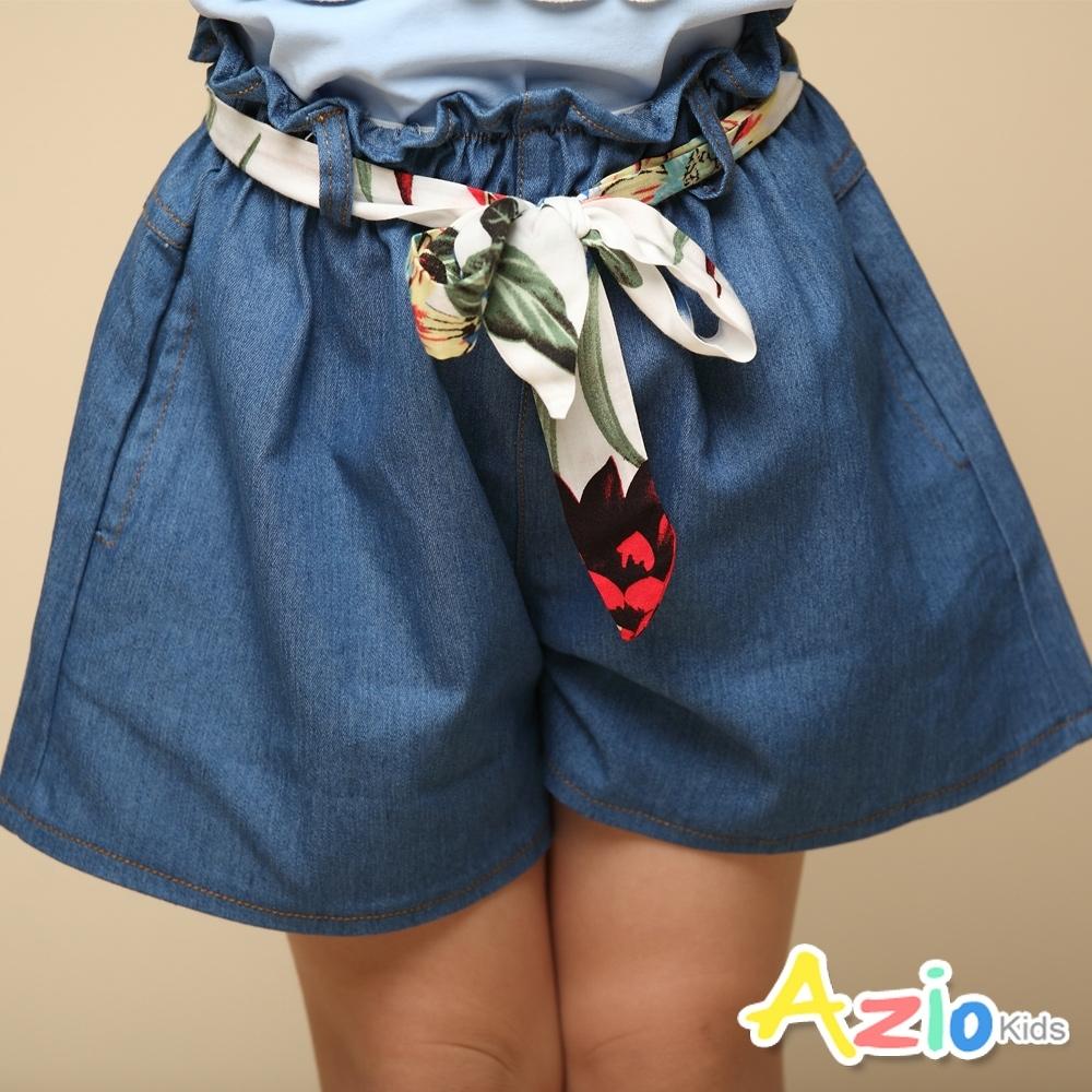 Azio 女童 褲裙 彩色綁帶牛仔褲裙(藍)