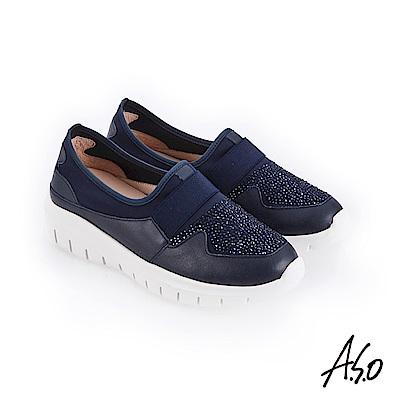 A.S.O 紓壓氣墊 燙鑽萊卡布拼接休閒鞋 深藍