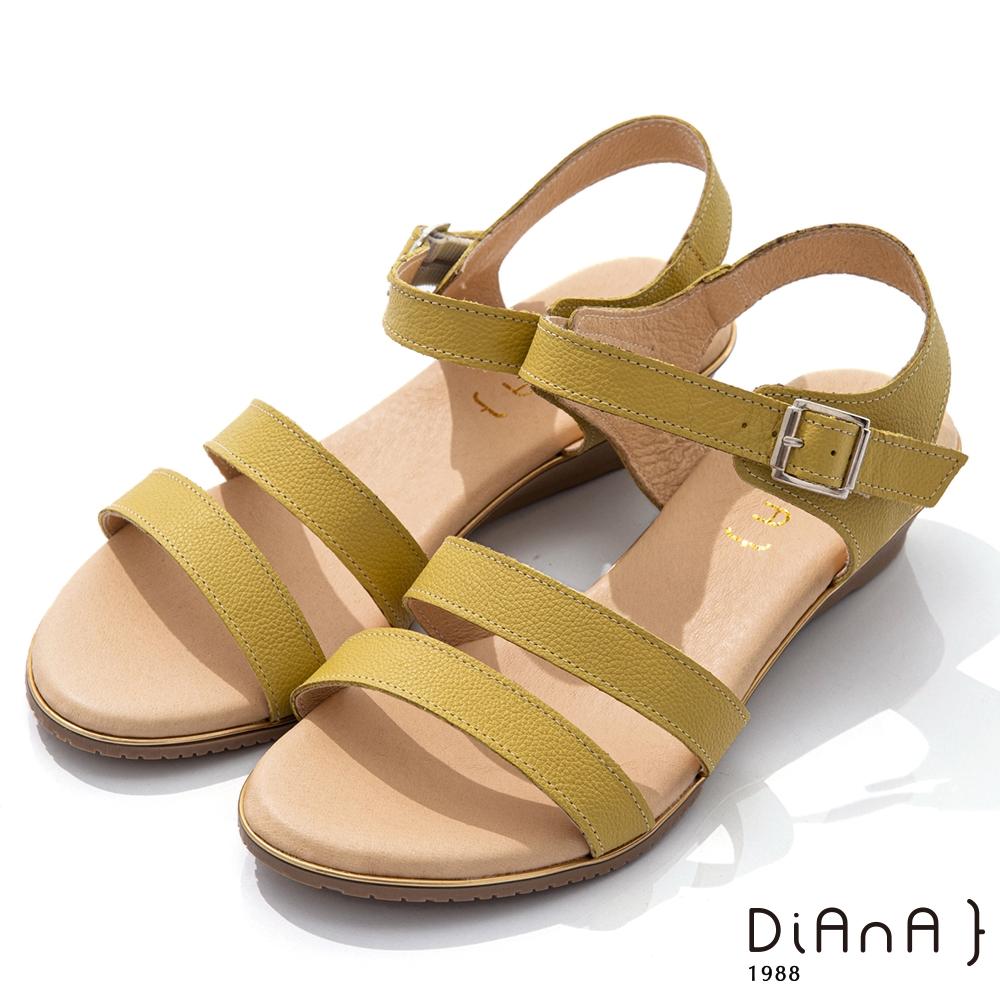 DIANA 4cm 質感牛皮環踝皮帶釦飾羅馬涼鞋-異國風情-黃