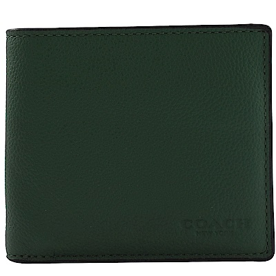 COACH 烙印LOGO牛皮八卡對開短夾(綠)