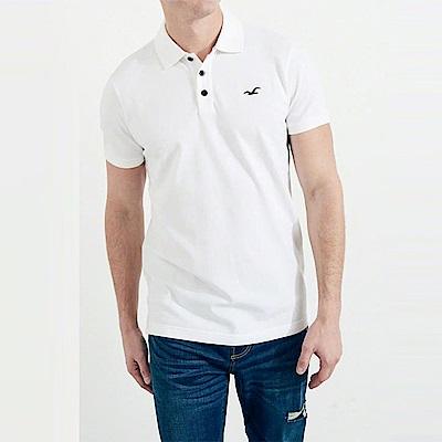 HCO Hollister 海鷗 經典電繡海鷗標短袖Polo衫-白色