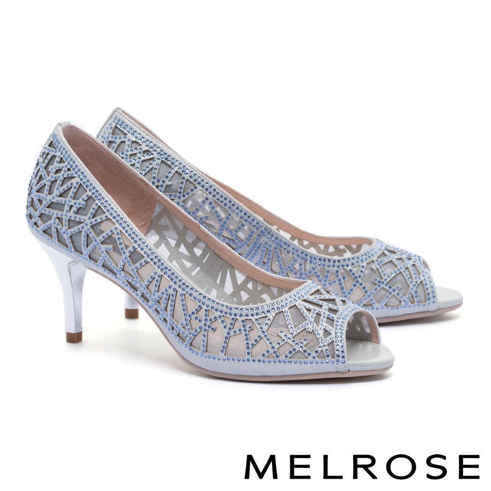 高跟鞋 MELROSE 迷人奢華晶鑽鏤空造型羊麂皮魚口高跟鞋-銀