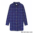 GIORDANO 女裝純棉法蘭絨長版襯衫-36 藍/紅/雪白格子