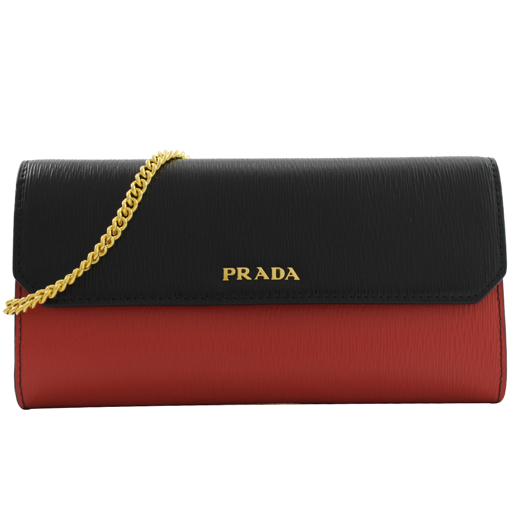 PRADA 金屬LOGO雙色水波紋斜背式長夾(黑/紅)PRADA