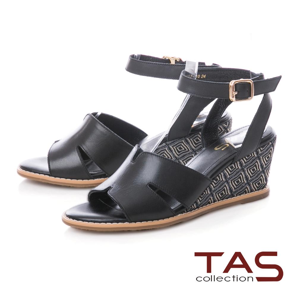 TAS 蝴蝶曲線寬繫帶楔型涼鞋–神秘黑