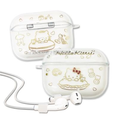 正版授權 Hello Kitty凱蒂貓 AirPods Pro TPU透明彩繪耳機盒保護套(玩伴)
