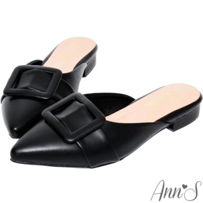 Ann'S難追的小姊姊-氣質素面方扣平底尖頭穆勒鞋 -黑(版型偏小)