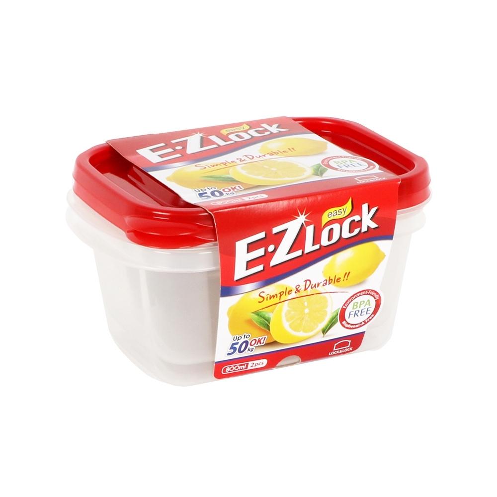 樂扣樂扣 EZ LOCK長型PP保鮮盒/800ML/2入(紅蓋)(快)