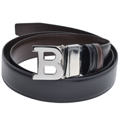 BALLY B BUCKLE 經典高質感牛皮革雙面用皮帶(黑/深咖啡/110CM)