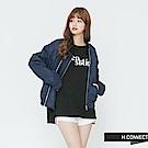 H:CONNECT 韓國品牌 女裝-雙拉鍊飛行外套-藍