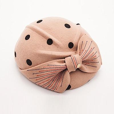 ELLE法式浪漫蝴蝶結羊毛呢帽貝蕾帽_卡其