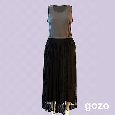 gozo 雪紡紗裙內搭背心洋裝(深灰)