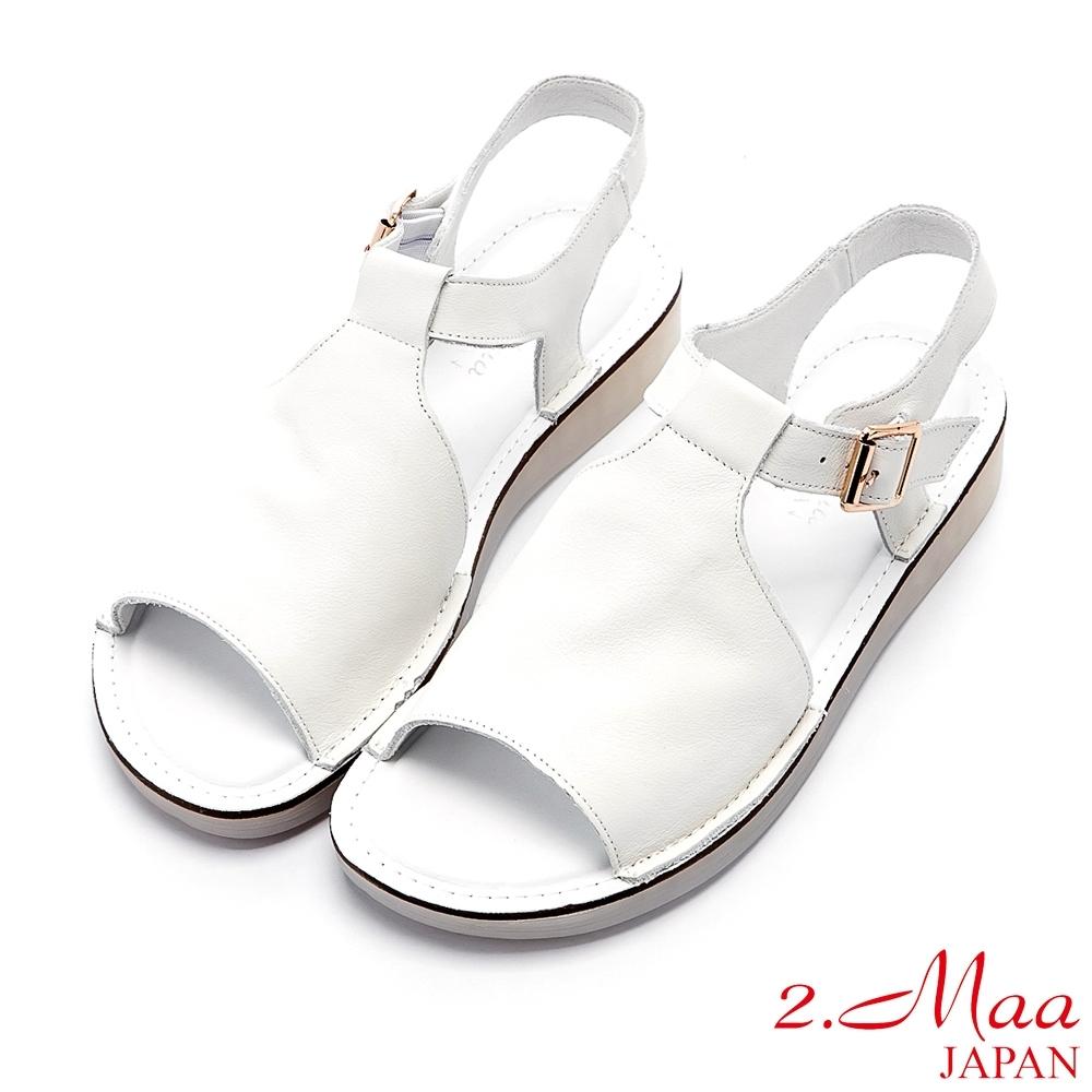 2.Maa 極簡設計牛皮扣帶魚口涼鞋 - 白