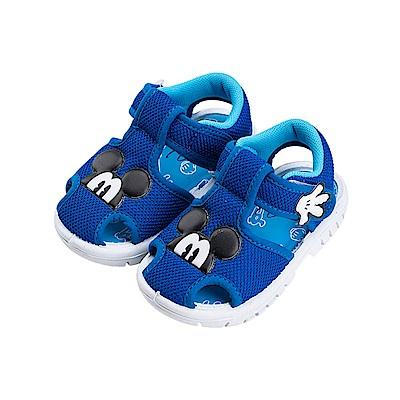 迪士尼童鞋 米奇 輕量護趾嗶嗶涼鞋-藍