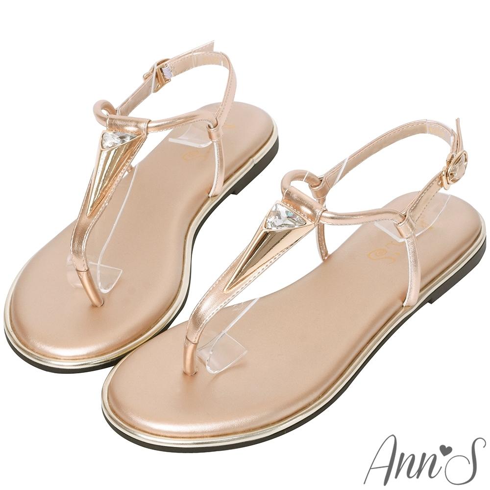 Ann'S埃及皇后-金色三角水鑽T字寬版平底涼鞋-玫瑰金