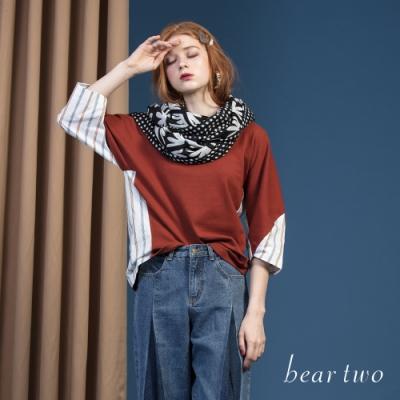beartwo - 異材質拼接V領七分袖上衣 - 咖啡