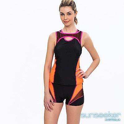 澳洲Sunseeker泳裝時尚運動風剪裁兩件式泳衣-黑