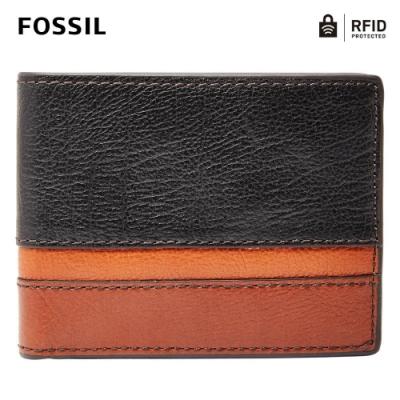 FOSSIL EASTON 真皮RFID防盜證件格零錢皮夾-黑色 SML1435016