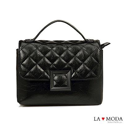 La Moda 小香風菱格紋肩帶可換肩背斜背鍊條包(黑)