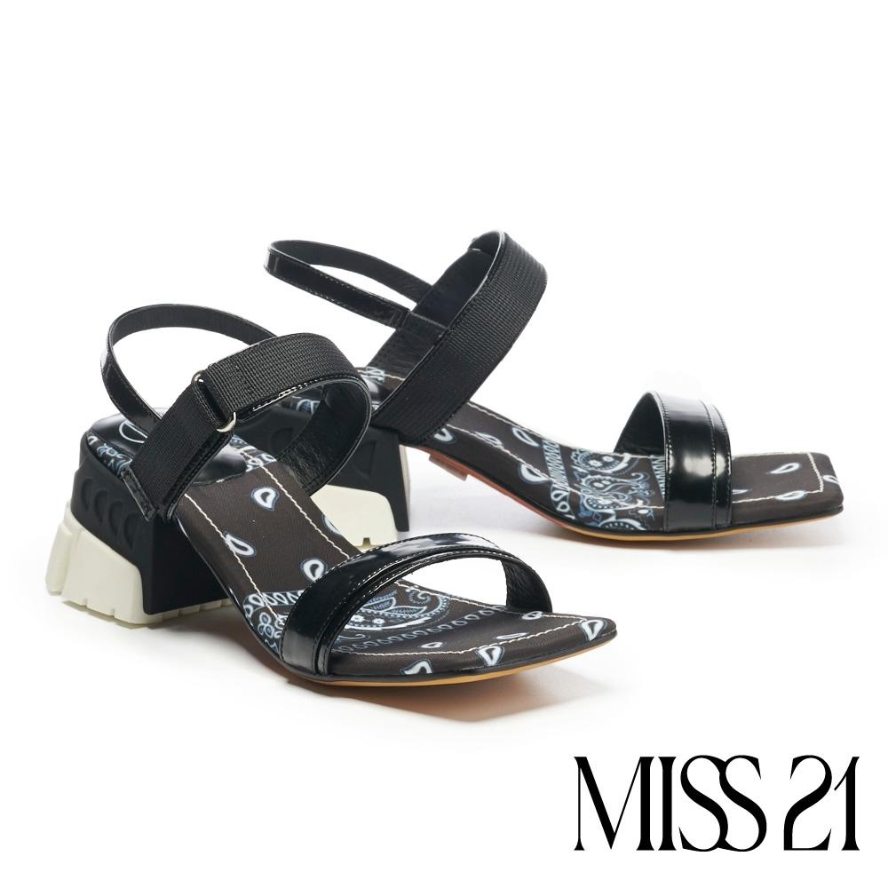 涼鞋 MISS 21 潮感休閒混搭風復古少女方頭粗跟涼鞋-黑