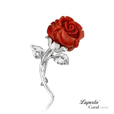 大東山珠寶 輕奢專屬系列 鍾情玫瑰 天然淺礁玫瑰珊瑚 胸飾 925銀胸針