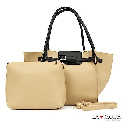 La Moda 時尚搭配單品超大容量釦飾設計肩背斜背子母包(米白)