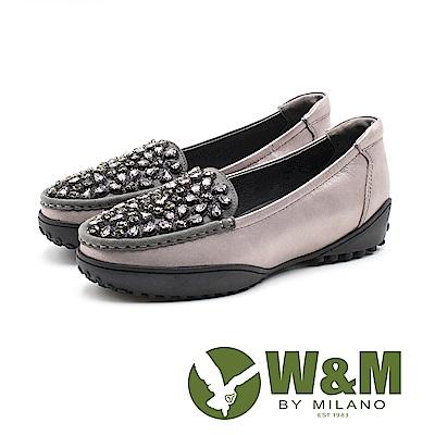 W&M 奢華寶石厚底羊皮休閒鞋 女鞋 - 灰(另有黑)