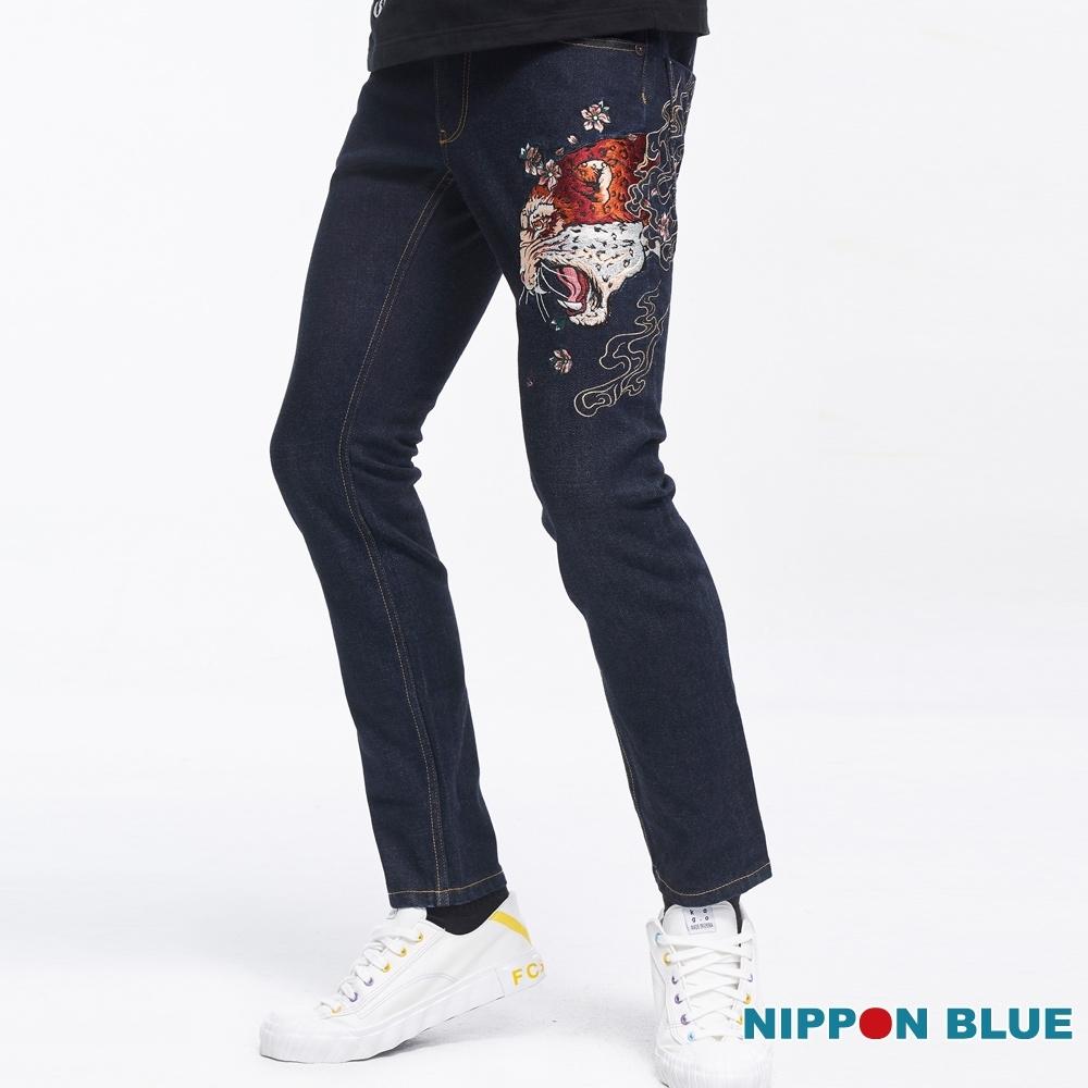 日本藍 BLUE WAY-日本藍花豹小直筒牛仔褲
