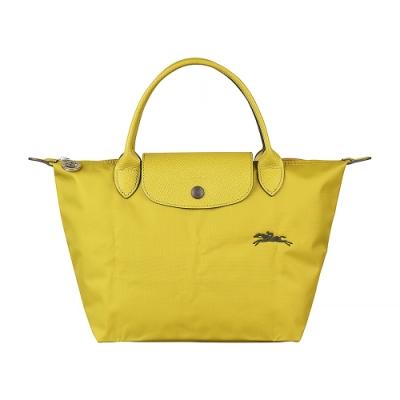 LONGCHAMP COLLECTION刺繡LOGO尼龍摺疊短把拉鍊手提包(小/檸檬黃x綠