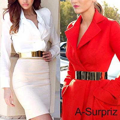 A-Surpriz 摩登金屬鏡面寬版腰帶(金)