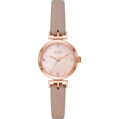 ELLE ODEON 系列優雅小錶徑女錶-珍珠貝x米色錶帶/26mm ELL21006