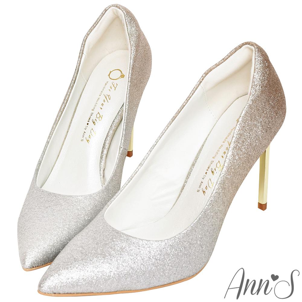 Ann'S高雅華麗-漸層色調電鍍鞋跟尖頭高跟鞋-金