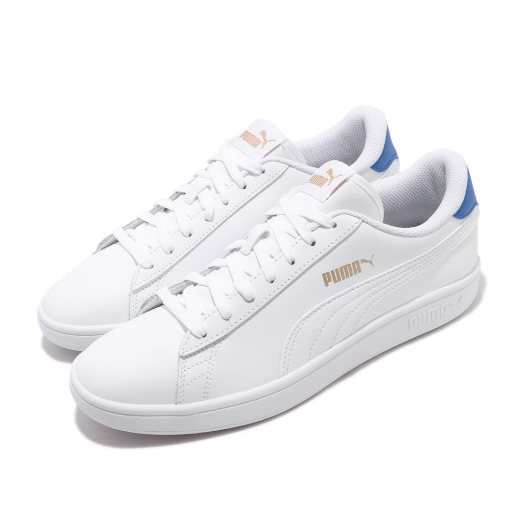 Puma 休閒鞋 Smash V2 L 運動 男女鞋 基本款 簡約 情侶穿搭 舒適 皮革 白 藍 36521518