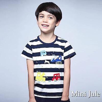 Mini Jule 童裝 上衣 多彩汽車縫布寬條紋上衣(藍)