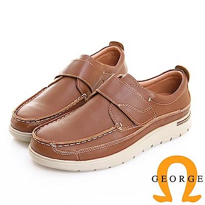 GEORGE 喬治皮鞋 輕量系列 素面真皮魔鬼氈休閒鞋 -棕色