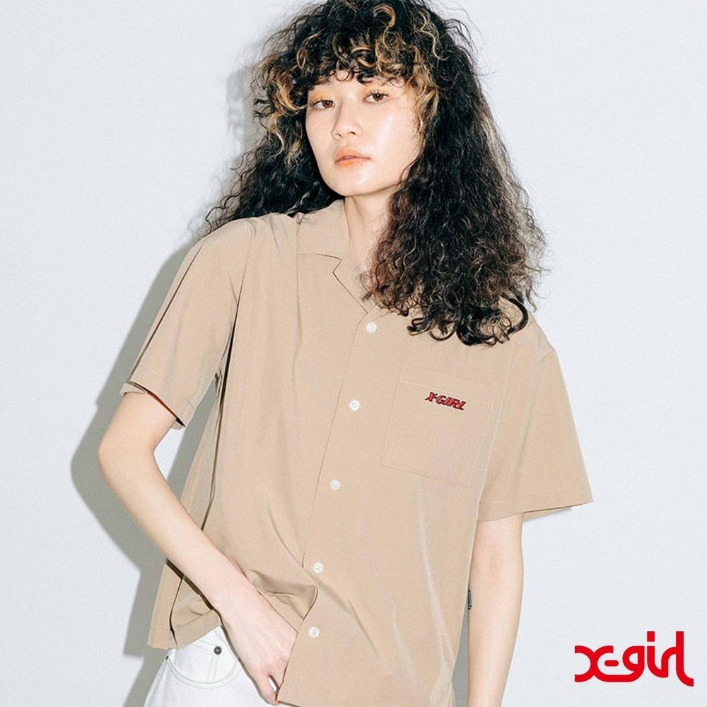 X-girl ANGEL FACE S/S SHIRT渲染襯衫-米 product image 1