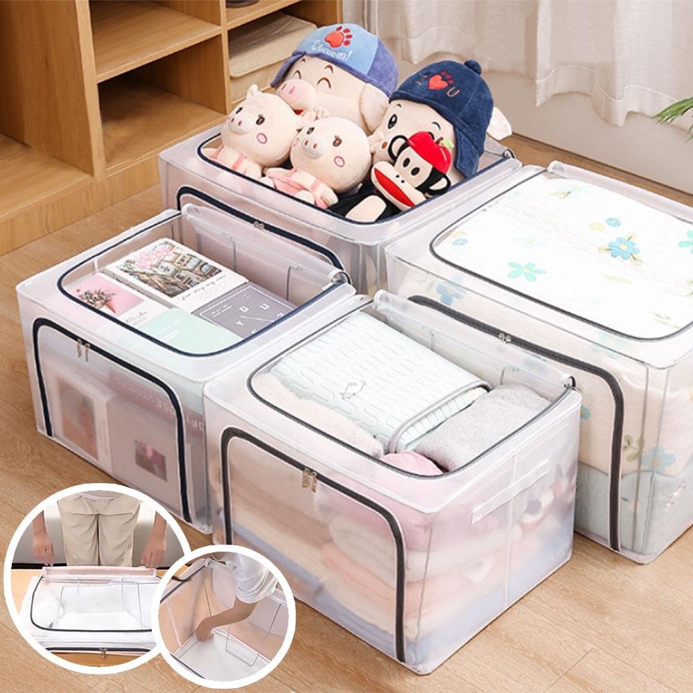 [團購2入]透明棉被衣服收納箱(80L)