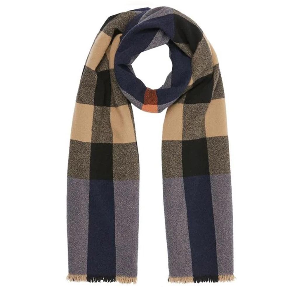 BURBERRY 經典格紋羊毛羊絨針織披肩圍巾 深藍