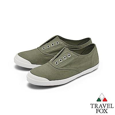 TRAVEL FOX(女) 温柔 無帶式水染漂洗素人帆布鞋 - 輕漂綠