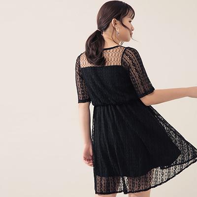 AIR SPACE PLUS 氣質網紗拼接蕾絲短洋裝(黑)