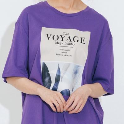 H:CONNECT 韓國品牌 女裝-彩圖休閒長版T-shirt-紫